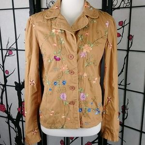 Johnny Was Embroidered Floral Boho Jacket Festival